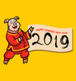 cute pig give chinese new year greetings vector image vector image