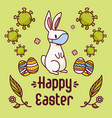 easter bunny with a face mask near eggs vector image vector image