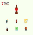 flat icon drink set of cup bottle fizzy drink vector image