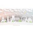 geneva switzerland city skyline in paper cut vector image vector image