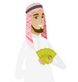 happy muslim businessman holding money vector image vector image
