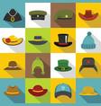 headdress hat icons set flat style vector image