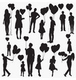 holding heart shaped balloons silhouettes vector image