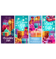 holiday gifts banners with wrapped presents vector image