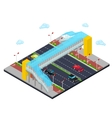 Isometric City Road with Pedestrian Bridge vector image vector image