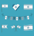 israel flag icon set in flat design vector image