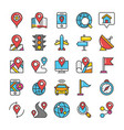 maps and navigation flat icons vector image