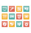 media equipment icons over colored background vector image