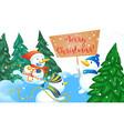 merry christmas snowman concept banner cartoon vector image