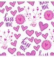 romantic doodle pattern with hearts-03 vector image vector image