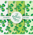 seamless clover pattern set with three leaf vector image vector image