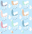 seamless kids pattern with funny llama and cacti vector image vector image