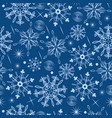 seamless pattern with snowflakes on a blue vector image