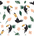 seamless pattern with tropical toucan birds vector image vector image