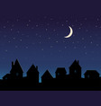 silhouette city night sky stars and moon vector image