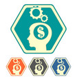 silhouette of a human head with dollar set vector image