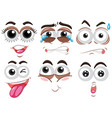 six set of human face with different emotions vector image vector image