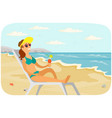 smiling girl is sitting in sun lounger vector image