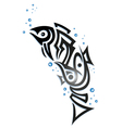 Tribal fish with bubbles vector image vector image