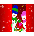 Two snowmen greeting card vector image vector image