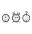 watches and alarm clock collection in silver vector image vector image