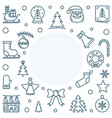 xmas or new year holiday line square frame vector image vector image