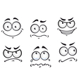Cartoon comics faces set vector image