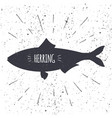 hand drawn herring icon fish in black and white vector image