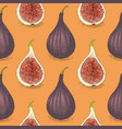 seamless pattern with ripe whole fig vector image