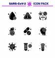 9 solid glyph black coronavirus disease vector image vector image