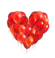 a lot of red balloons in round frame shape vector image