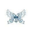 american eagle spread wings with ribbon vector image