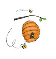 bees flying in hive hanging on tree branch vector image