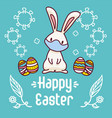 cartoon style easter bunny wearing a face mask vector image vector image