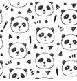 childish seamless pattern with hand drawn pandas vector image