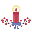 christmas light candle icon in flat design vector image vector image