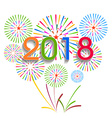Colorful fireworks Happy new year 2018 t vector image vector image