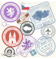 czech travel stamps set - prague journey symbols vector image vector image