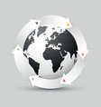 earth globe with colored arrows vector image vector image
