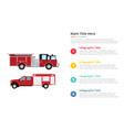 firefighter truck infographics template with 4 vector image