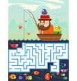 fisherman maze game for kids vector image vector image