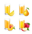 fruit juice in glass set vector image vector image
