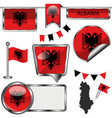 glossy icons with flag of albania vector image vector image