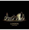 gold silhouette london on black background vector image