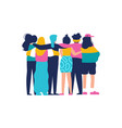 happy girl friend group hug on isolated background vector image vector image
