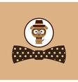 hipster dog symbol bow tie design vintage vector image vector image