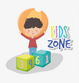 kids zone happy little boy with ball and blocks vector image