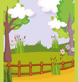 landscape nature tree clouds path flowers fences vector image