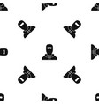 Man in balaclava pattern seamless black vector image