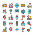 maps and navigation coloured flat icons vector image vector image
